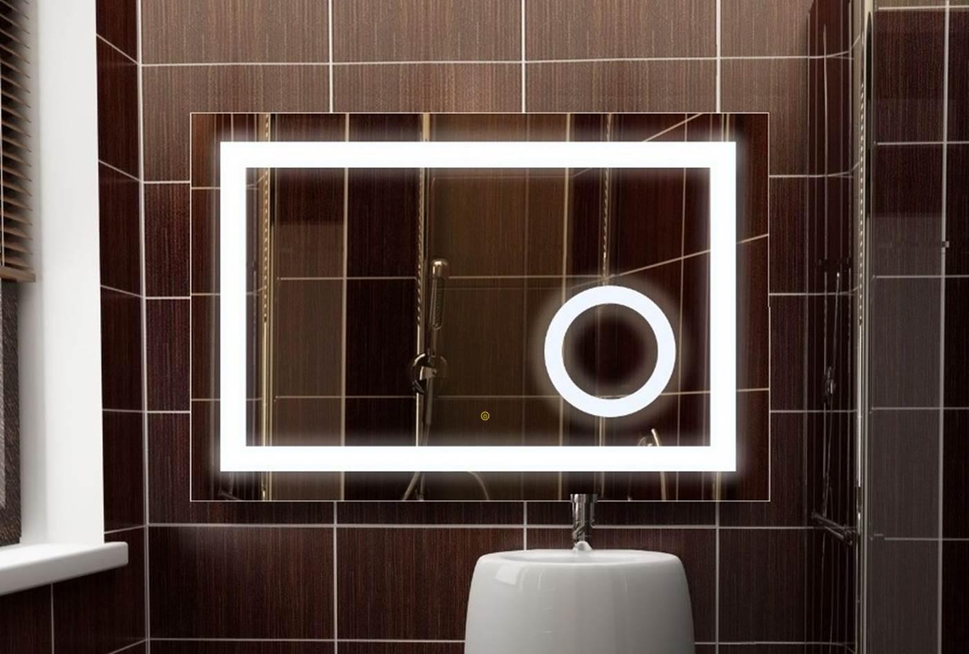 Details zu Badspiegel Power LED mit integriertem Kosmetikspiegel und Touch  Sensor 9x9 cm